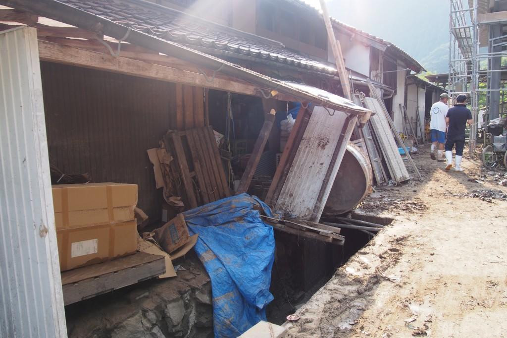 萩市内の豪雨被害(写真:高橋真樹)