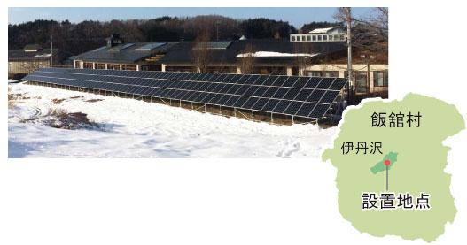飯舘村役場の前に設置された飯舘電力第一号となる太陽光発電所