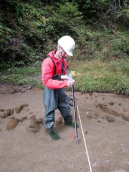 小水力発電候補地での水量調査の補助